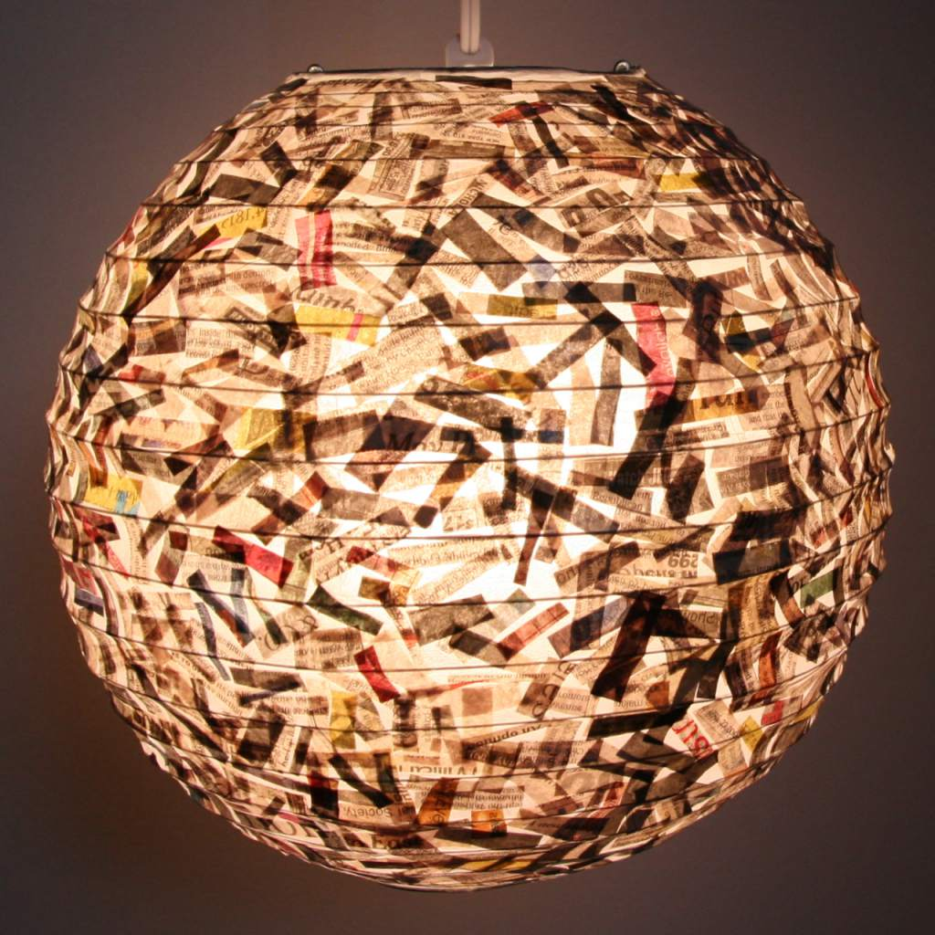 Shredded Newspaper Lantern