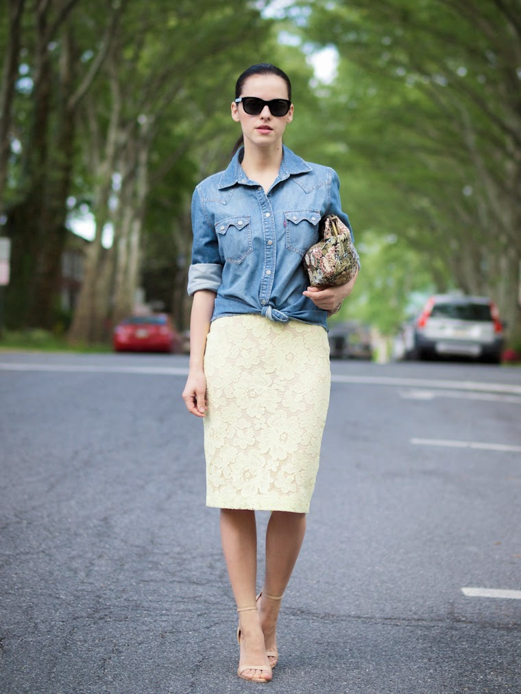 Denim with Lace Skirt